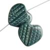 Glass Bead Heart 18mm Opaque Dark Green Silk